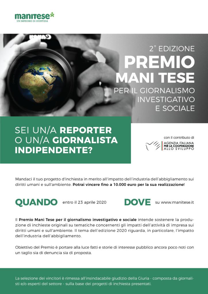Premio Mani Tese per il giornalismo investigativo e sociale 2020_locandina_A4